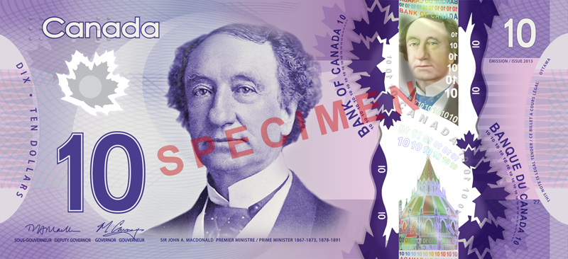 Ten Canadian Dollar Banknote