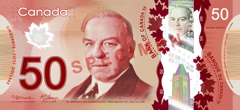 Fifty Canadian Dollar Banknote