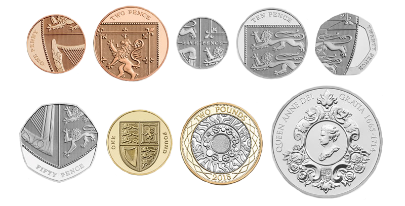 British Pound and Pence coins