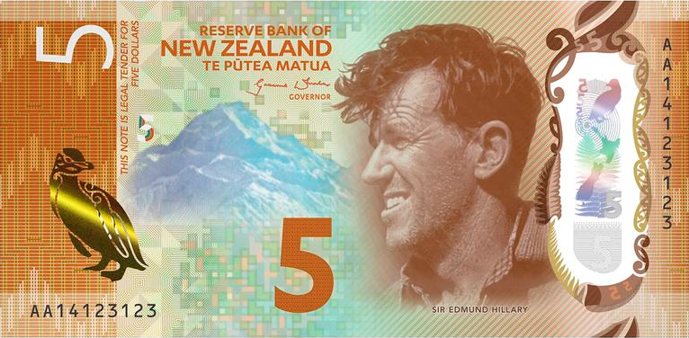 Five New Zealand Dollars Banknote